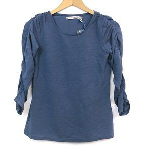 NEW CHELSEA VIOLET Blue Gathered 3/4 Sleeve Blouse